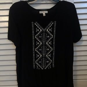 love, fire black blouse with embroidery